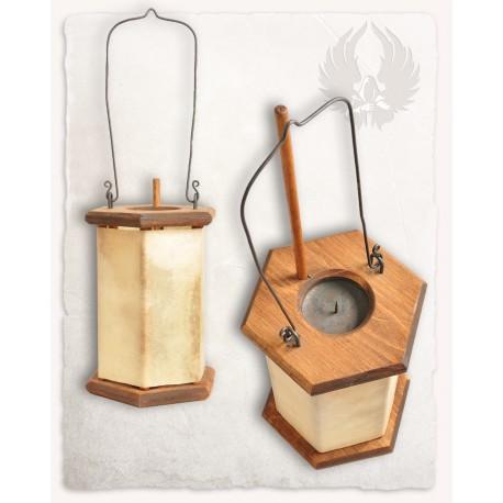 Lanterne bois et cuir